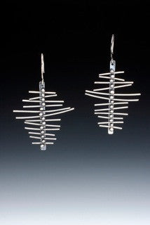 'Abstract Leaves': Sterling Earrings by Sara Burns