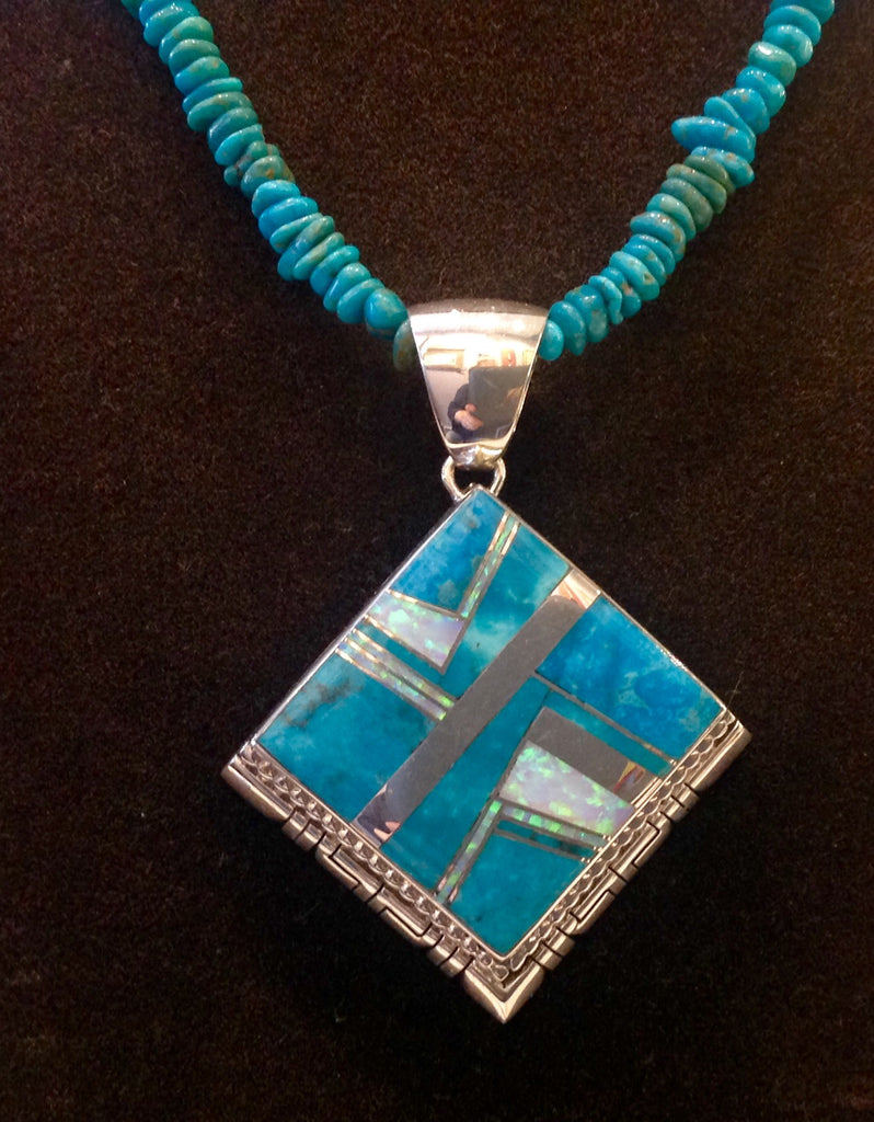 Turquoise, Opal and Sterling silver inlay necklace by Kenneth Bitsie