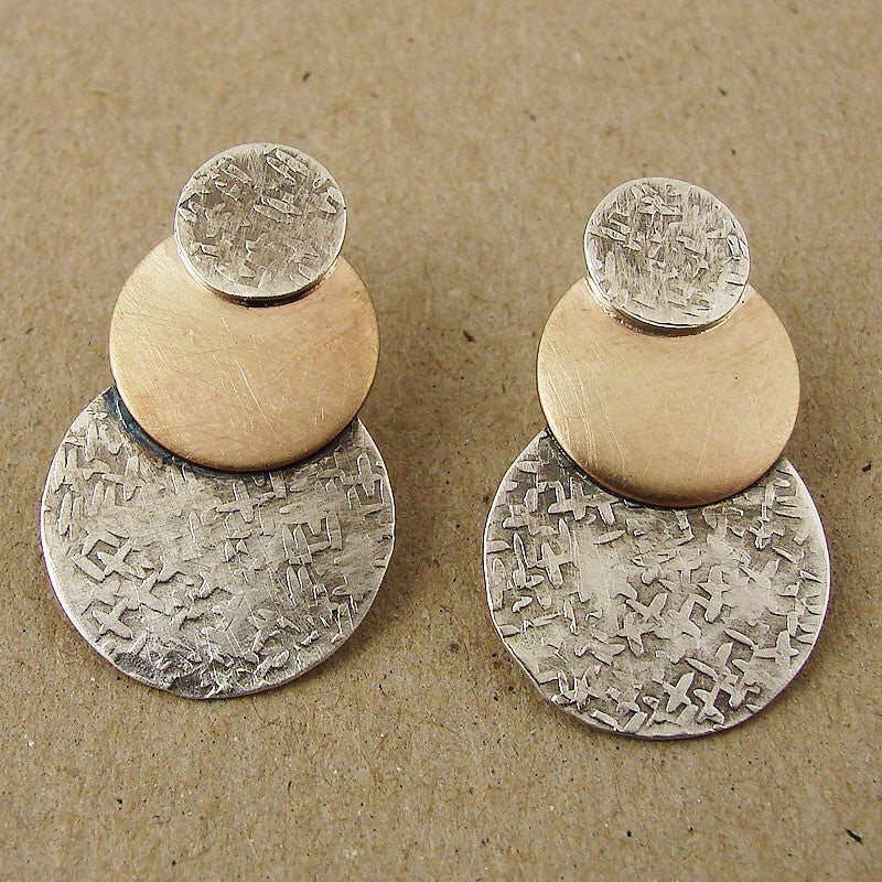 Textured sterling and 14k gold fill post earring by Ian Gibson