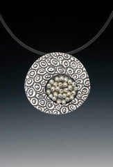 "Sterling and pearl cluster ""Symbiosis"" necklace and brooch by Sara Burns"