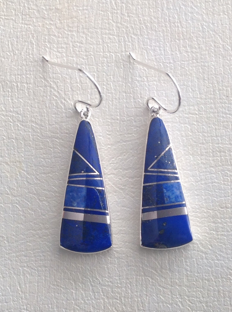 Sterling Silver and Lapis Lazuli Inlay Earrings by Sheryle Martinez