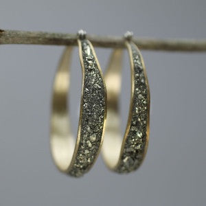 Bronze and pyrite hoop earrings by David Urso