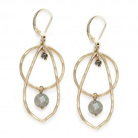 Hammered 14K Gold Fill with Pyrite and Labradorite Earrings by Ian Gibson