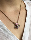 """Mini Azalea Pendant"" Rhodochrosite set in Brass with Embedded Rubies by Emilie Shapiro"