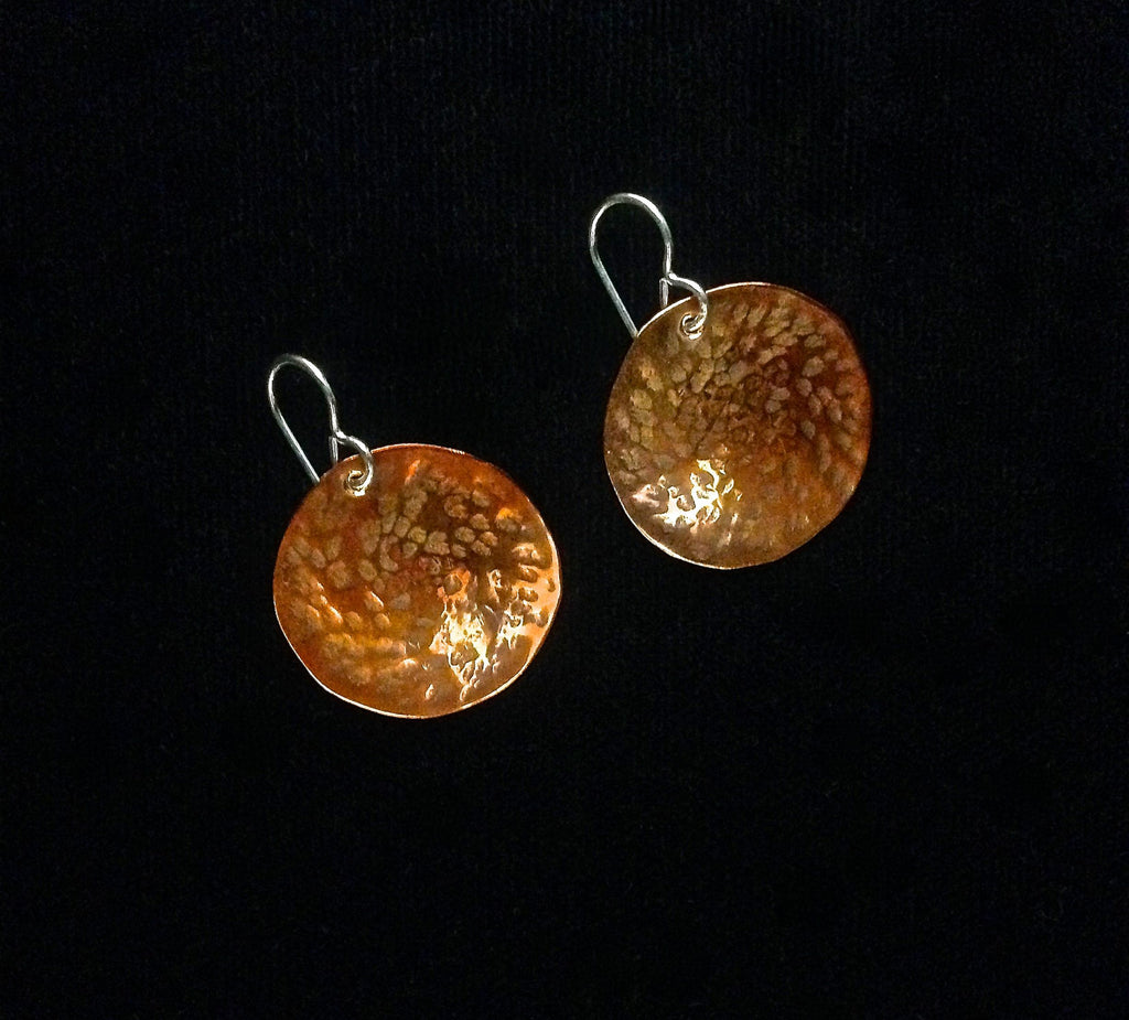 Copper & Sterling Silver Disk Earrings by Sue Roggio