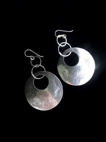 Sterling Silver Disk Earrings by Sue Roggio