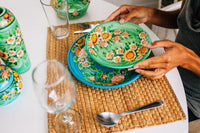 functional ceramics handmade and hand painted in vivid colors with a floral pattern