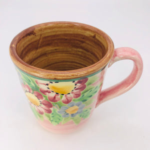 handmade ceramic floral coffee cup