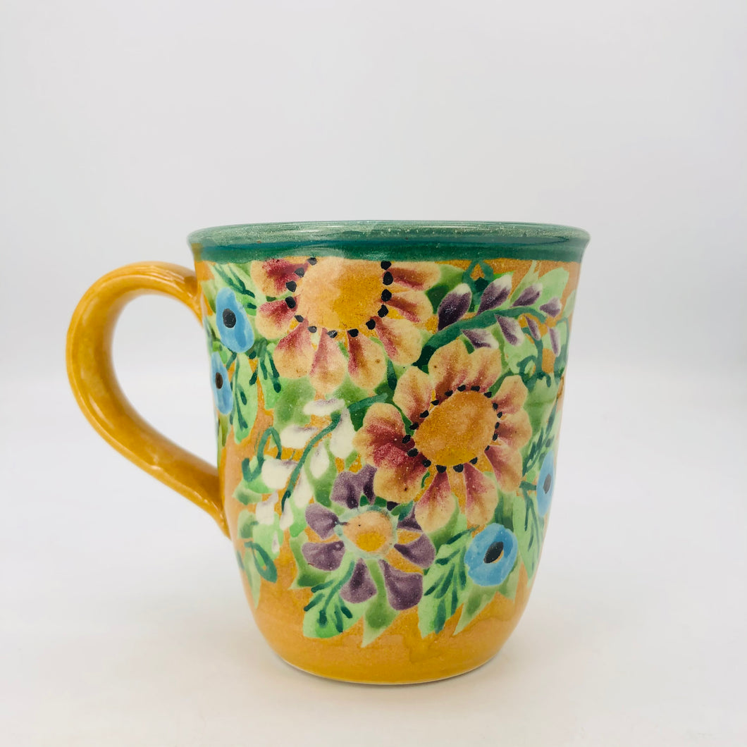 Ceramic Floral hand painted cup mug