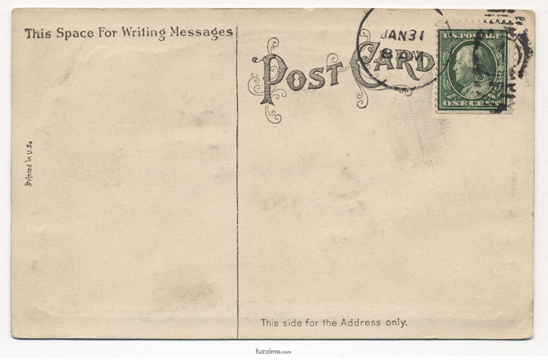 Old Postcard with green stamp