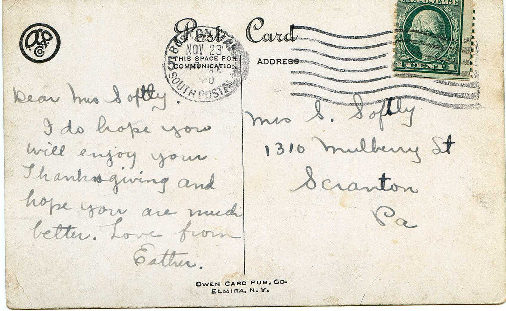 Postcard Green Stamp