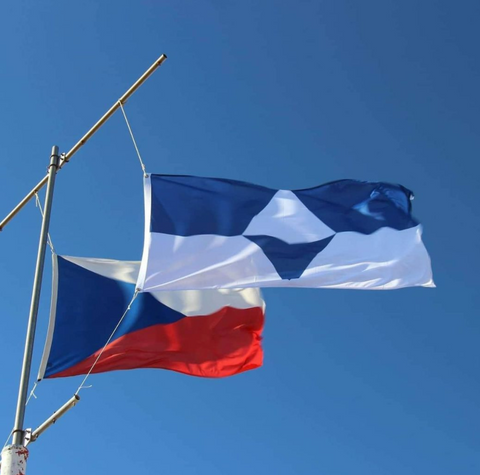 True South Flag in Antarctica at the beginning of the summer.