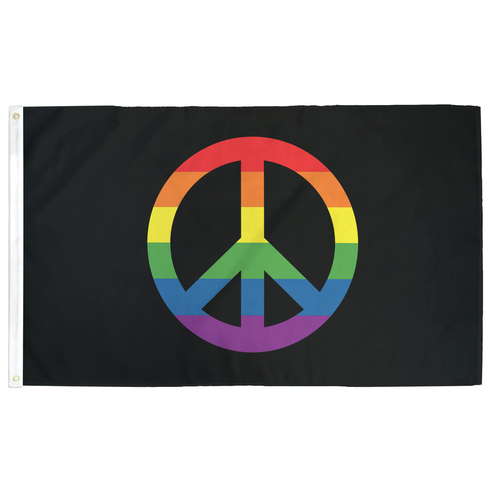 Rainbow Peace Sign Flag