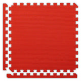 Double-Sided Puzzle Mat in Red with Removable Border Pieces
