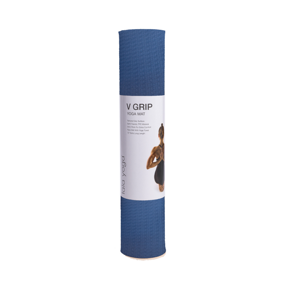V Grip Yoga Mat in Blue