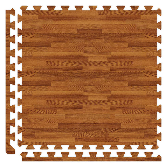 Soft Wood Grain Puzzle Mat in Dark Oak