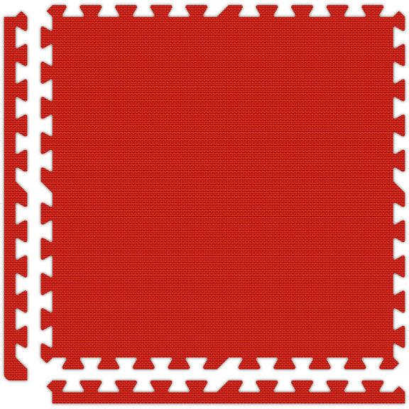 Premium Puzzle Mat in Red with Removable Border Pieces