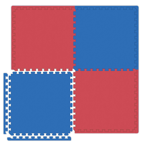 Economy Double-Sided Puzzle Mats in Red and Blue