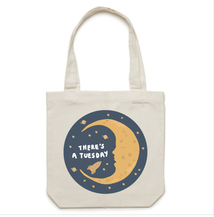 There's A Tuesday tote bag - white