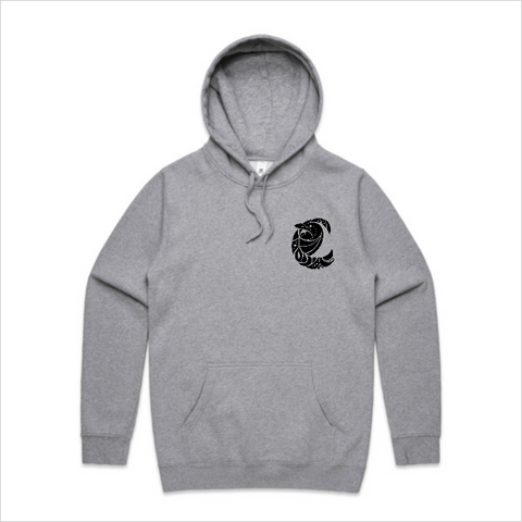 Coridian Skull Hoody - Front and back, grey