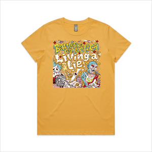 Battle-Ska Galactica - Living a Lie tee, women's - mustard