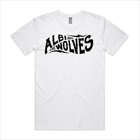 Albi & The Wolves logo tee, men's - white