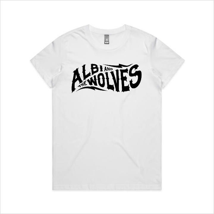 Albi & The Wolves logo tee, women's - white