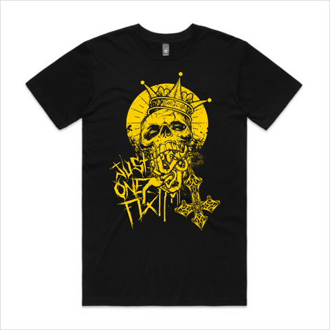 Just One Fix - Gold skull tee, men's - black