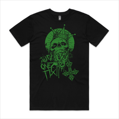 Just One Fix - Green skull tee, men's - black