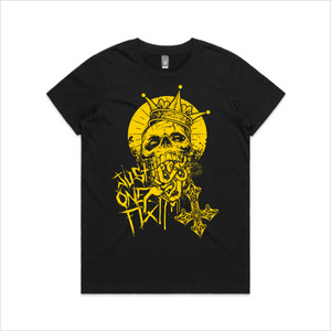 Just One Fix - Gold skull tee, women's - black