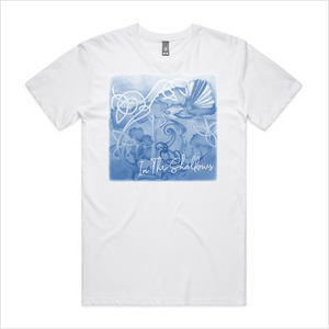 In The Shallows blue design tee, men's - white