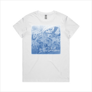 In The Shallows blue design tee, women's - white