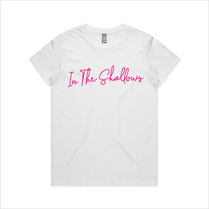 In The Shallows pink design tee, women's - white