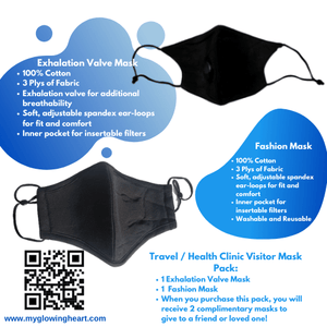 Travel / Health Facility Mask Bundle - The Glowing Heart Project