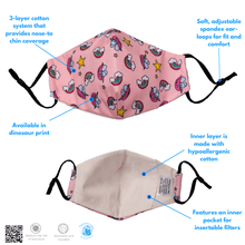 Load image into Gallery viewer, Washable, Reusable Kid's Face Mask + 4-Pack Filter Set - The Glowing Heart Project
