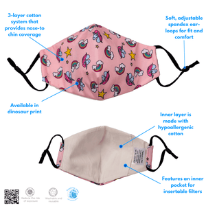 Washable, Reusable Kid's Face Mask + 4-Pack Filter Set - The Glowing Heart Project