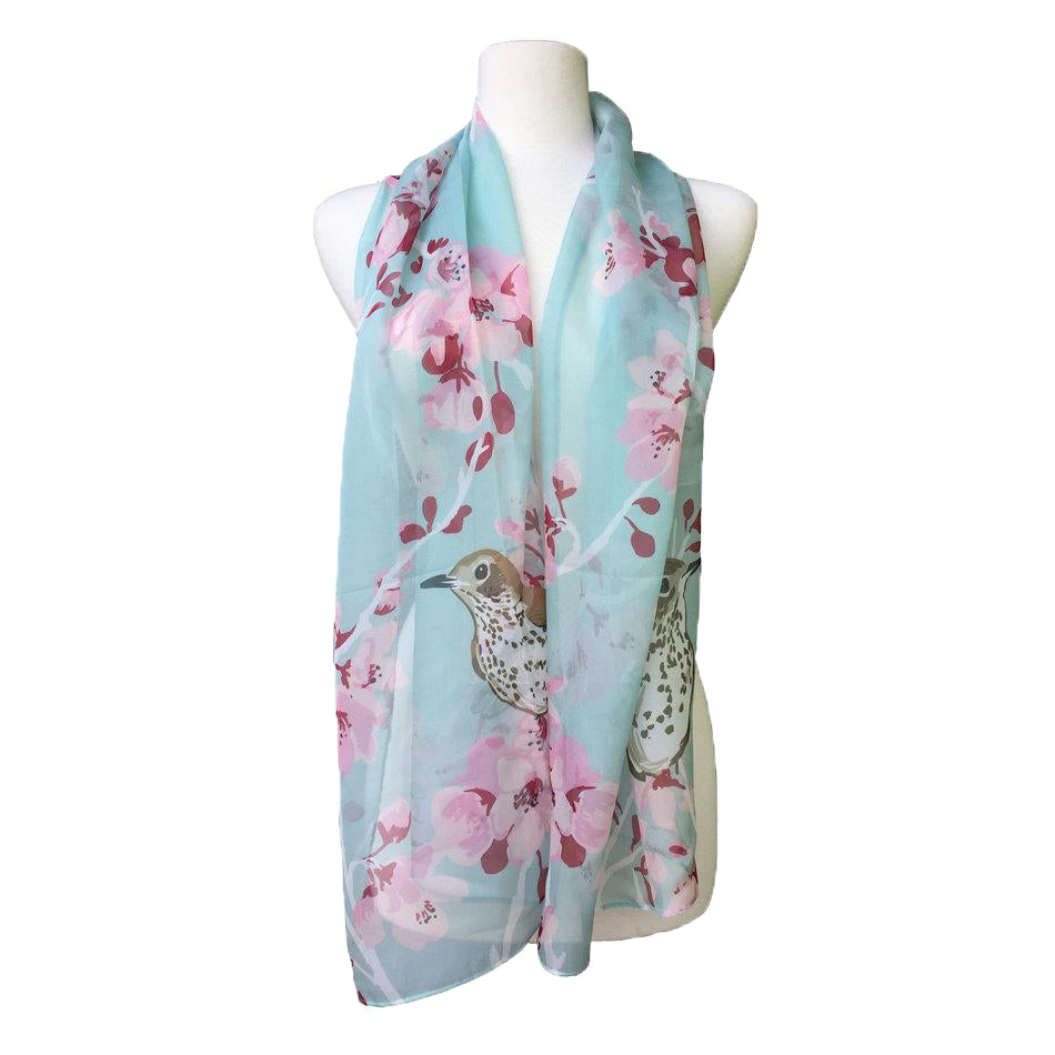 Scarf Wood Thrush and Cherry Blossom