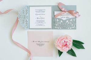 Wedding Invitation - Grey and Pink