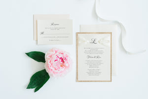 Wedding Invitation - White and Gold