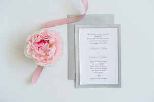 Wedding Invitation - Grey and Glitter