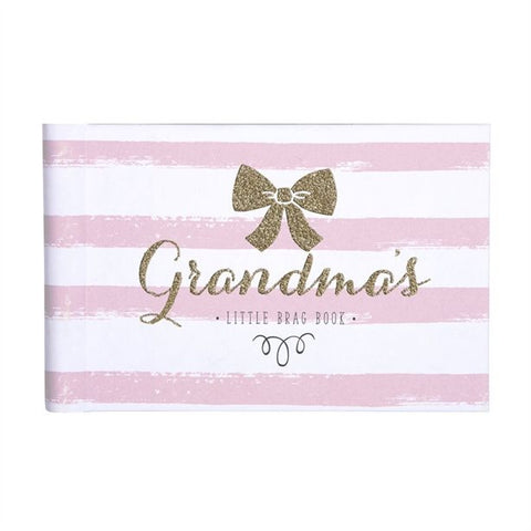"alt="" Grandma's brag book/photo book adorned with delicate pinks, tiny ribbons, and touches of gold glitter"""