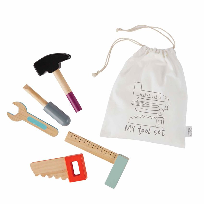 "alt=""Five wooden play tools arrive in drawstring muslin bag"""