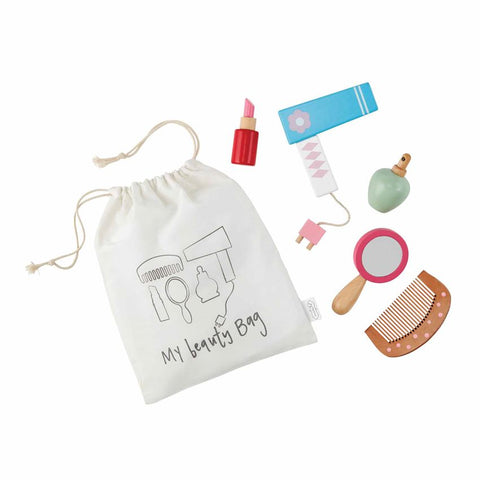 "alt=""Wooden play make-up toys arrive in drawstring muslin bag"""
