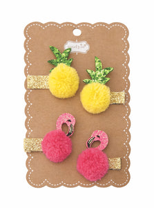 "alt=""Fun in the sun pom poom clips with gold glitter felt alligator clips, glitter felt and chiffon pom-pom pineapple and flamingo toppers on scalloped display card"""