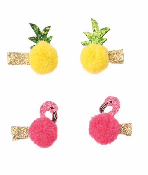 "alt=""""Fun in the sun pom poom clips with gold glitter felt alligator clips, glitter felt and chiffon pom-pom pineapple and flamingo toppers"""