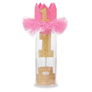 "alt=""Pink felt birthday crown with elastic strap, mesh ruffles and a glitter 1 applique with a glitter 1 cake topper on stainless steel post to hold one standard size birthday candle"""