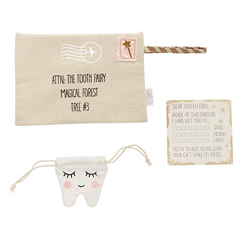 alt=Canvas pink Tooth Fairy envelope features appliqued stamp, printed details and arrives with printed muslin drawstring tooth pouch and customizable printed letter""