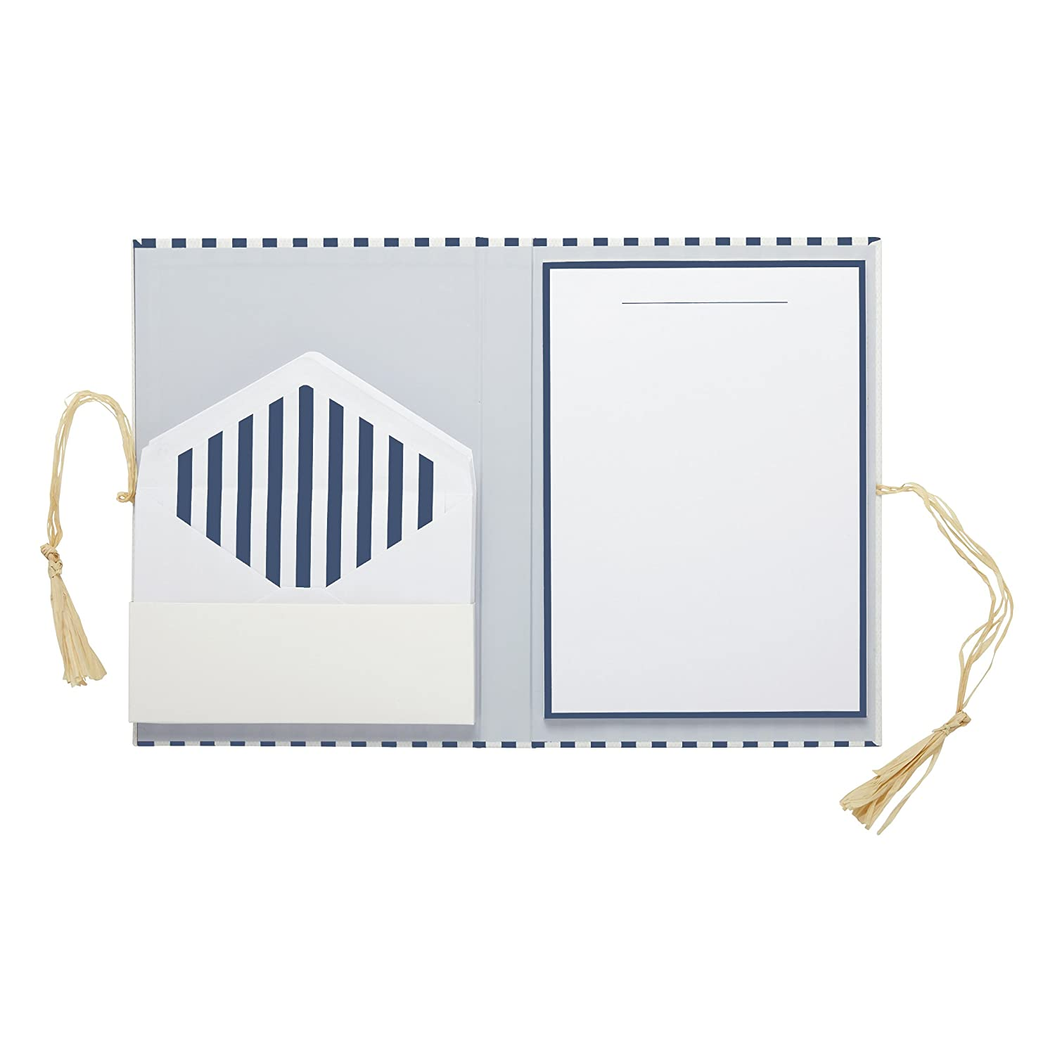 "alt=""Blue and white striped letter writing set with letter paper and coordinating envelopes in folder with suede cord enclosure"""
