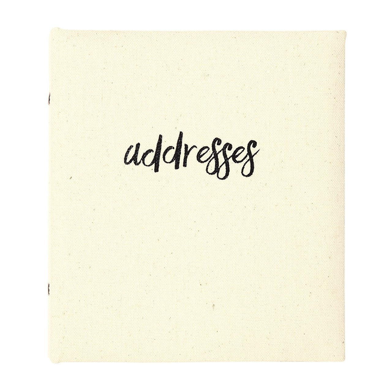 "alt=""Off white refillable cloth address book with black cursive writing"""