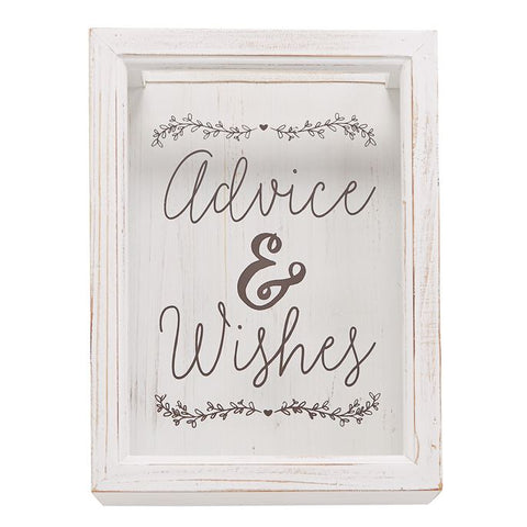 "alt=""White-washed wood advice and wishies keepsake box features a top slot entry and printed Advice & Wishes glass front window, comes with two sheets of eight perforated kraft Advice & Wishes cards for personalization"""